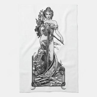 Alphonse Mucha Broken Blossoms Kitchen Towel