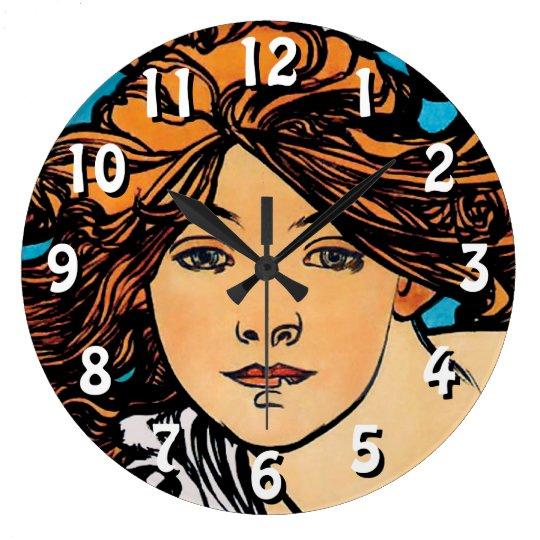 Alphonse Mucha - Cycles Perfecta Retro Art Nouveau Large Clock