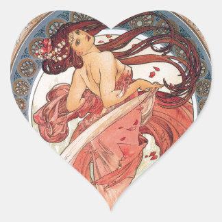"""Alphonse Mucha, """"Dance"""" Heart Sticker"""
