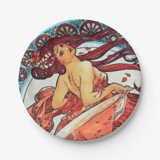Alphonse Mucha Dance Vintage Art Nouveau Painting 7 Inch Paper Plate