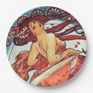 Alphonse Mucha Dance Vintage Art Nouveau Painting 9 Inch Paper Plate