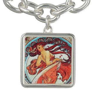 Alphonse Mucha Dance Vintage Art Nouveau Painting Charm Bracelets