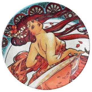 Alphonse Mucha Dance Vintage Art Nouveau Painting Porcelain Plate