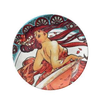Alphonse Mucha Dance Vintage Art Nouveau Painting Porcelain Plates