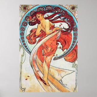 Alphonse Mucha Dance Vintage Art Nouveau Painting Poster