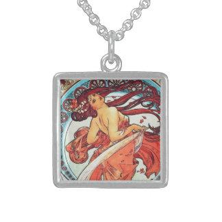 Alphonse Mucha Dance Vintage Art Nouveau Painting Sterling Silver Necklace