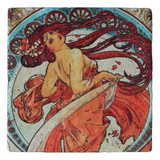 Alphonse Mucha Dance Vintage Art Nouveau Painting Trivet