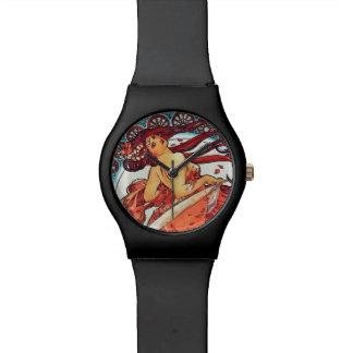 Alphonse Mucha Dance Vintage Art Nouveau Painting Wristwatches