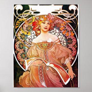 Alphonse Mucha Daydream Floral Vintage Art Nouveau Poster