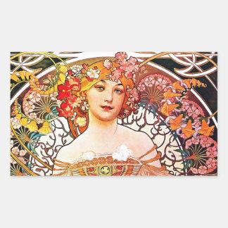 Alphonse Mucha Daydream Floral Vintage Art Nouveau Sticker