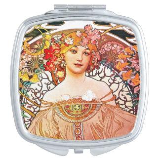 Alphonse Mucha Daydream Floral Vintage Art Nouveau Travel Mirrors