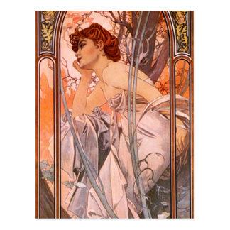 Alphonse Mucha Evening Reverie Postcard
