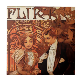 Alphonse Mucha Flirt Tile