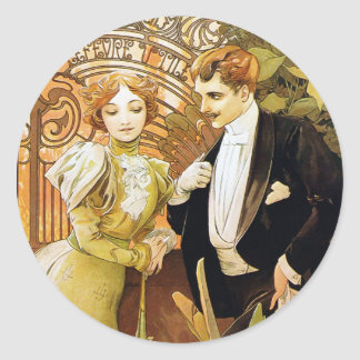 Alphonse Mucha Flirt Vintage Romantic Art Nouveau Classic Round Sticker