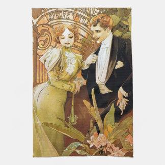 Alphonse Mucha Flirt Vintage Romantic Art Nouveau Hand Towel