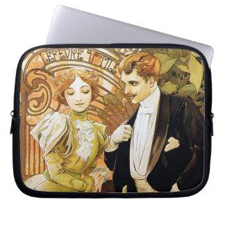 Alphonse Mucha Flirt Vintage Romantic Art Nouveau Laptop Sleeve