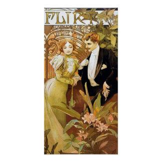 Alphonse Mucha Flirt Vintage Romantic Art Nouveau Perfect Poster
