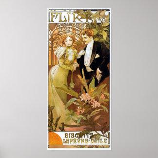 Alphonse Mucha Flirt Vintage Romantic Art Nouveau Poster