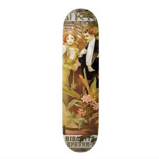 Alphonse Mucha Flirt Vintage Romantic Art Nouveau Skate Deck