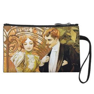 Alphonse Mucha Flirt Vintage Romantic Art Nouveau Wristlet