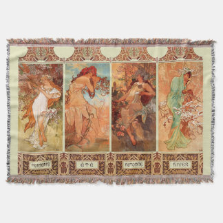 Alphonse Mucha Four Seasons Art Nouveau Throw Blanket