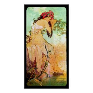 Alphonse Mucha Girl By The Pond Wall Poster