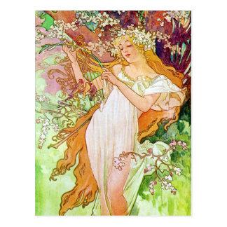 Alphonse Mucha Girl In Garden Postcard