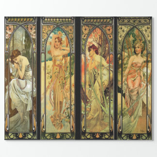 Alphonse Mucha, Gorgeous Ladies, Art Deco Wrapping Paper