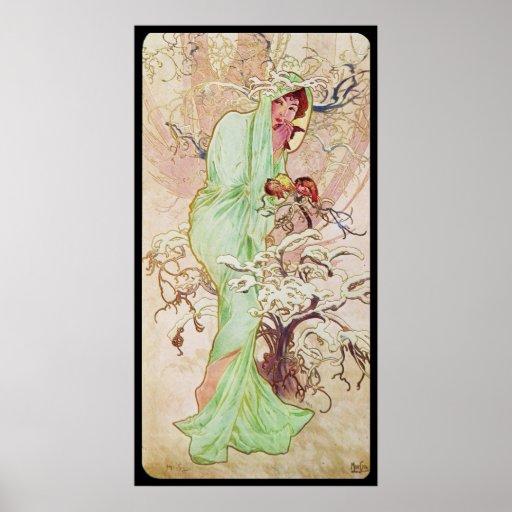 Alphonse Mucha Hiver Winter Poster