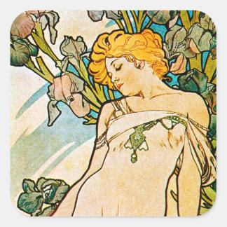 Alphonse Mucha - Iris WB Square Sticker