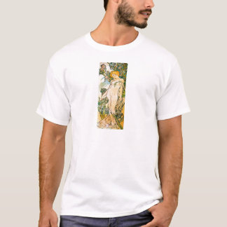 Alphonse Mucha - Iris WB T-Shirt