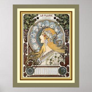 """Alphonse Mucha """"La Plume"""" Poster 16 x 20"""