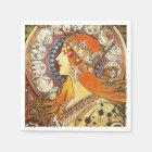 Alphonse Mucha La Plume Zodiac Art Nouveau Vintage Paper Napkin