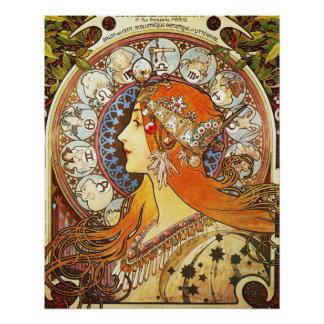 Alphonse Mucha La Plume Zodiac Art Nouveau Vintage Perfect Poster