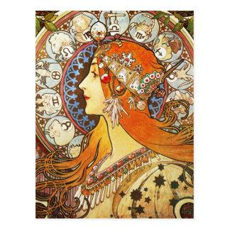 Alphonse Mucha La Plume Zodiac Art Nouveau Vintage Post Cards