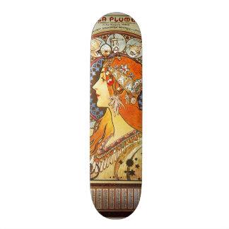 Alphonse Mucha La Plume Zodiac Art Nouveau Vintage Skate Decks
