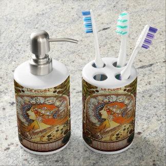 Alphonse Mucha La Plume Zodiac Art Nouveau Vintage Soap Dispenser And Toothbrush Holder