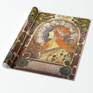Alphonse Mucha La Plume Zodiac Art Nouveau Vintage Wrapping Paper