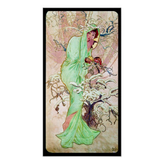 Alphonse Mucha Lady In Green Cape Wall Poster
