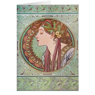 Alphonse Mucha Laurel Art Nouveau Note Cards V