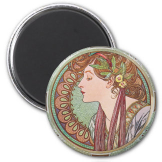 Alphonse Mucha Laurel Art Nouveau Round Magnet
