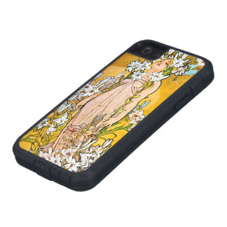 Alphonse Mucha - Lily - White Border Case For The iPhone 5