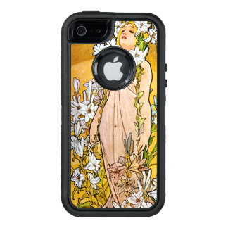 Alphonse Mucha - Lily - White Border OtterBox Defender iPhone Case