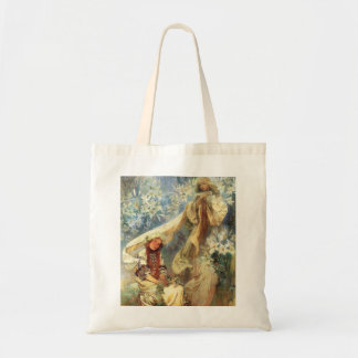 Alphonse Mucha Madonna of the Lilies Tote Bag