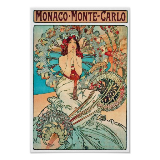 Alphonse Mucha Monaco, Monte Carlo, 1897 Affiches