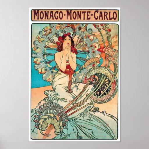 Alphonse Mucha Monaco, Monte Carlo, 1897 Poster
