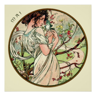 Alphonse Mucha Month Of May Poster