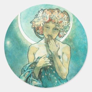 Alphonse Mucha Moonlight Clair De Lune Art Nouveau Classic Round Sticker