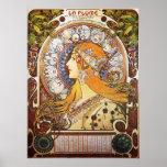 Alphonse Mucha. Plume de La/zodiaque, 1896. Poster
