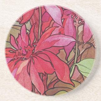 Alphonse Mucha Poinsettias Christmas Coasters